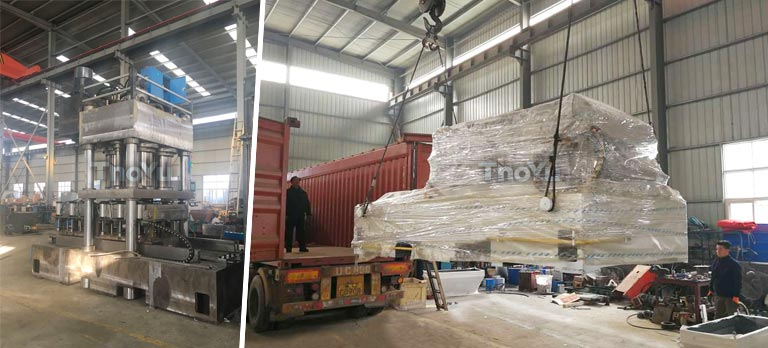 double-mould pressed wood pallet machine